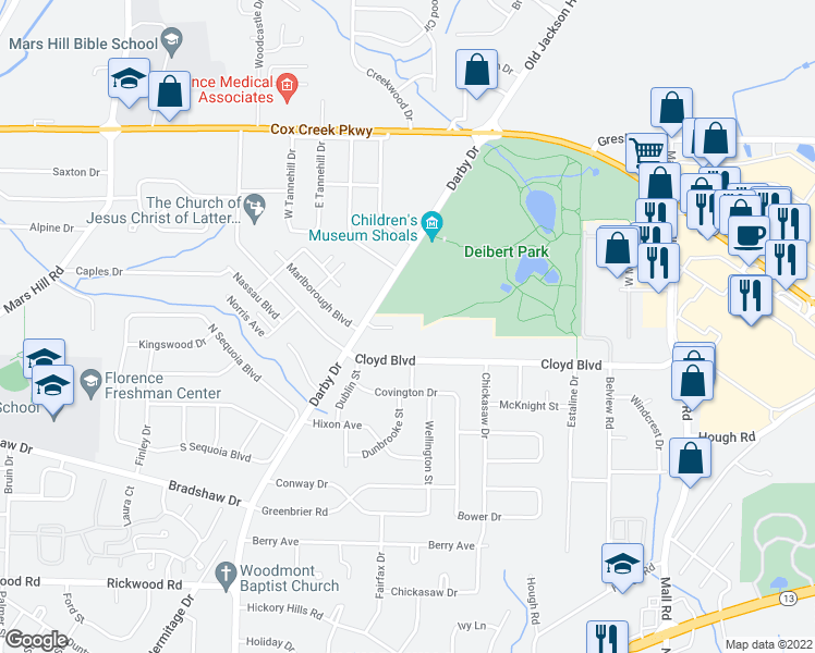 map of restaurants, bars, coffee shops, grocery stores, and more near 2107 Cloyd Boulevard in Florence