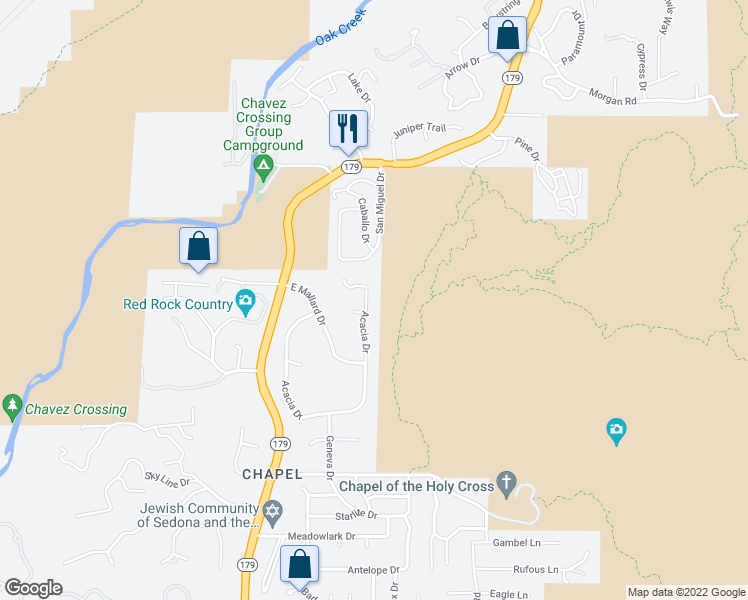 map of restaurants, bars, coffee shops, grocery stores, and more near 421 Acacia Drive in Sedona