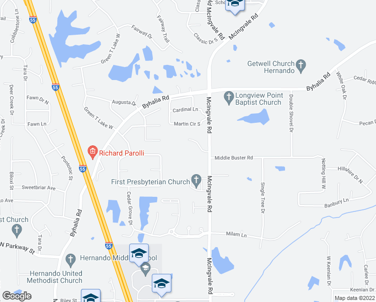 map of restaurants, bars, coffee shops, grocery stores, and more near 1325 McIngvale Road in Hernando
