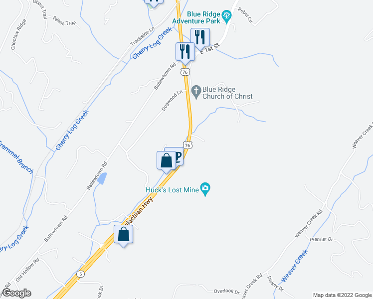 map of restaurants, bars, coffee shops, grocery stores, and more near Ballew Lane in Ellijay