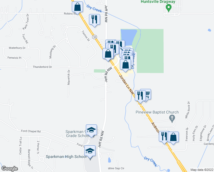 map of restaurants, bars, coffee shops, grocery stores, and more near 2699 Jeff Rd in Harvest
