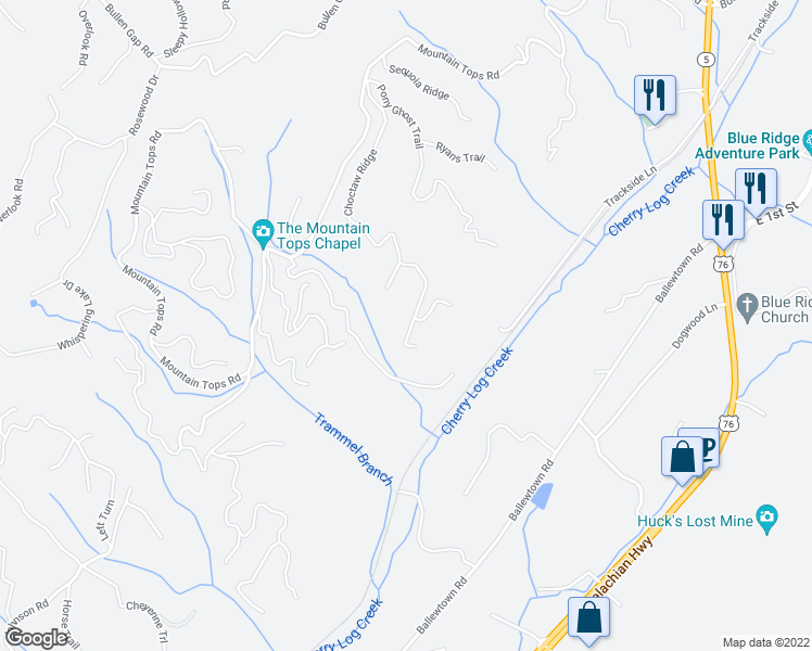 map of restaurants, bars, coffee shops, grocery stores, and more near 728 Choctaw Ridge in Blue Ridge