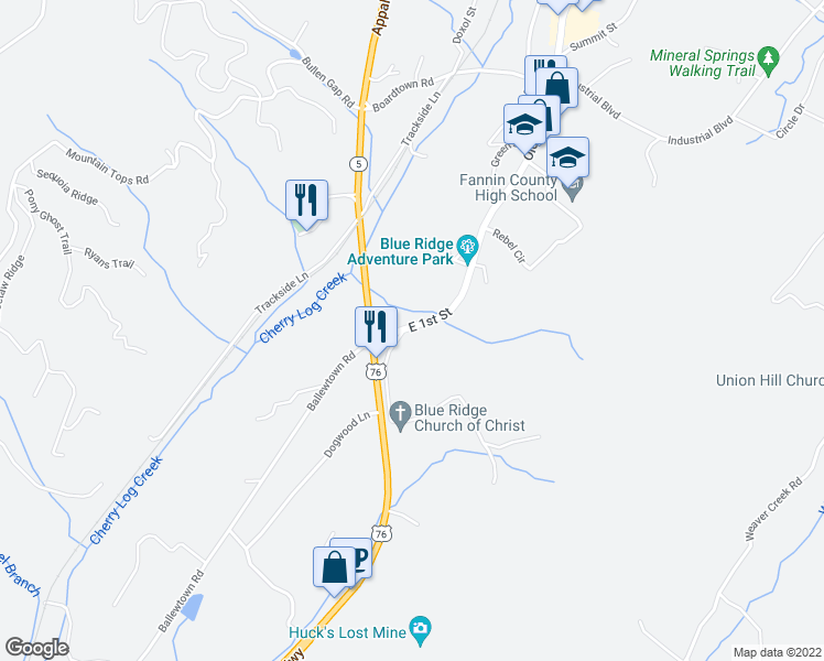 map of restaurants, bars, coffee shops, grocery stores, and more near 1872 Old Highway 2 in Blue Ridge