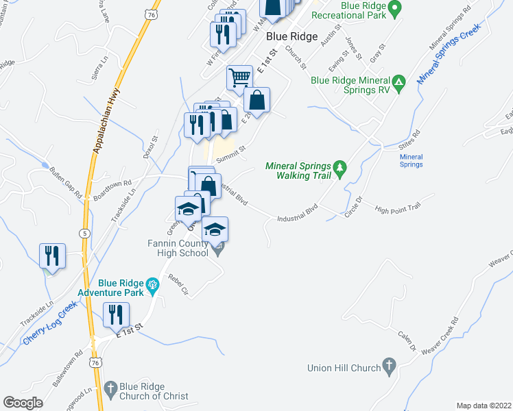 map of restaurants, bars, coffee shops, grocery stores, and more near 83 Industrial Boulevard in Blue Ridge