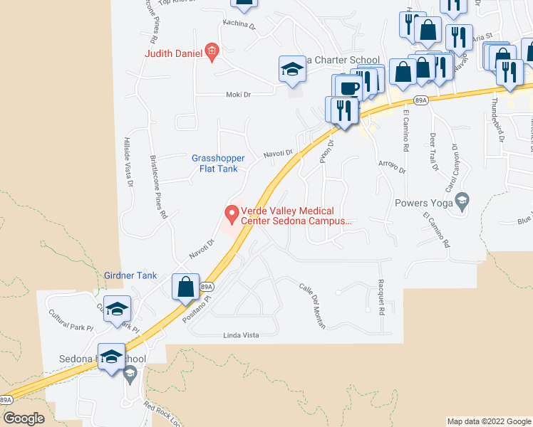 map of restaurants, bars, coffee shops, grocery stores, and more near 200 Calle Del Norte in Sedona