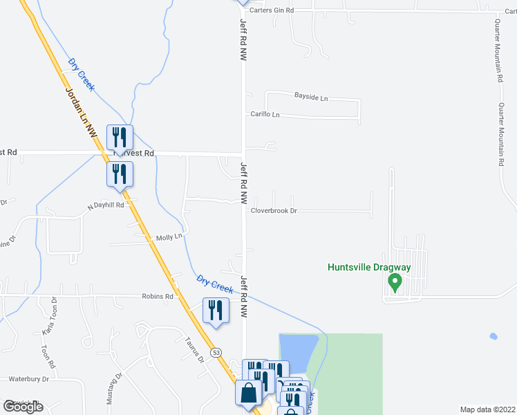 map of restaurants, bars, coffee shops, grocery stores, and more near 100 Foxford Lane in Harvest