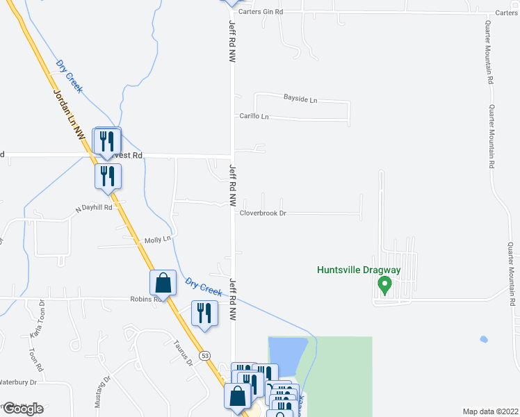 map of restaurants, bars, coffee shops, grocery stores, and more near 110 Springbok Drive in Harvest