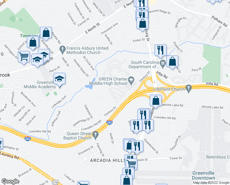 map of restaurants, bars, coffee shops, grocery stores, and more near 151 Century Drive in Greenville