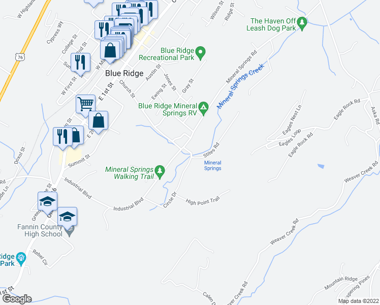 map of restaurants, bars, coffee shops, grocery stores, and more near Mineral Springs Road in Blue Ridge