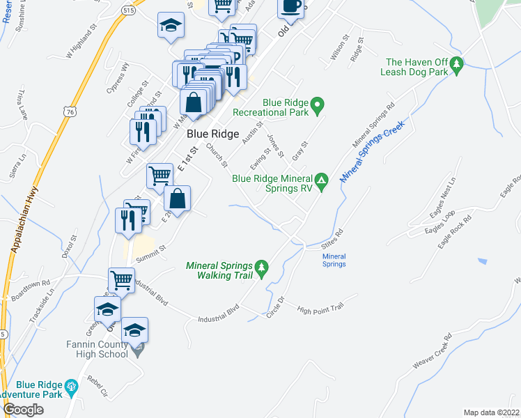 map of restaurants, bars, coffee shops, grocery stores, and more near 637 Mineral Springs Road in Blue Ridge