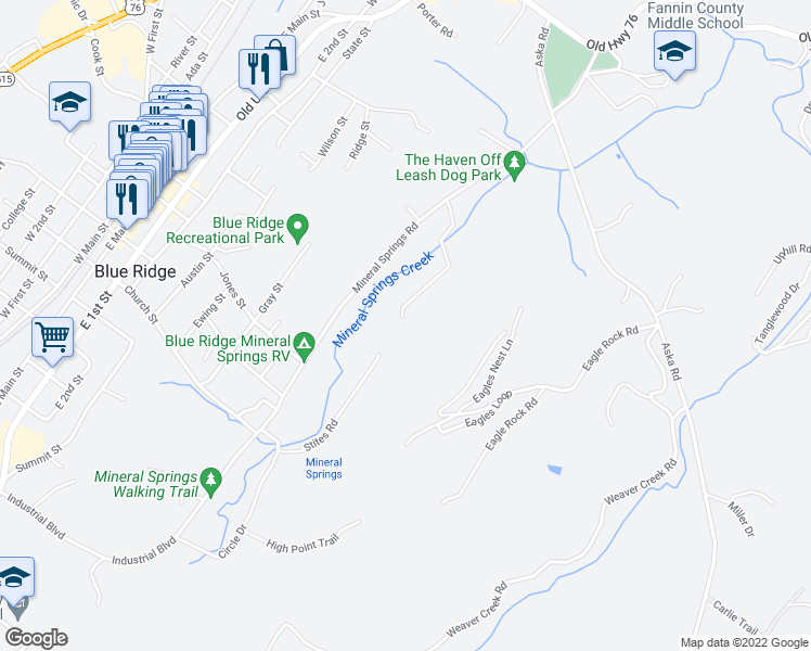 map of restaurants, bars, coffee shops, grocery stores, and more near 23 Eagles Ridge Way in Blue Ridge