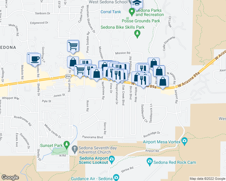 map of restaurants, bars, coffee shops, grocery stores, and more near 50 View Drive in Sedona