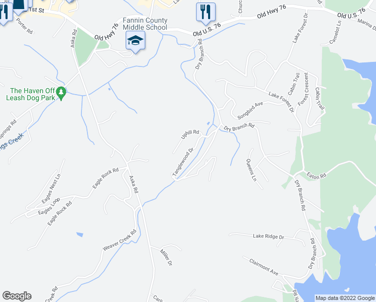 map of restaurants, bars, coffee shops, grocery stores, and more near in Blue Ridge