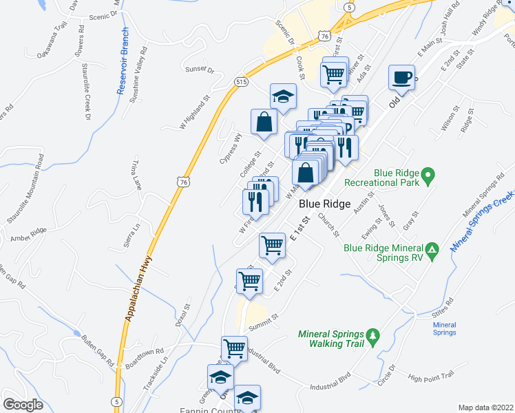 map of restaurants, bars, coffee shops, grocery stores, and more near 710 West 1st Street in Blue Ridge