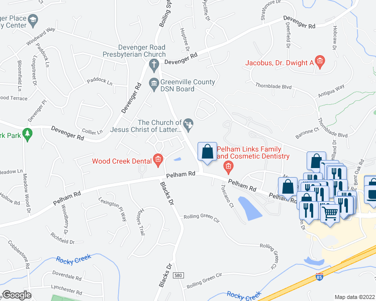 map of restaurants, bars, coffee shops, grocery stores, and more near 203 Braelock Drive in Greer