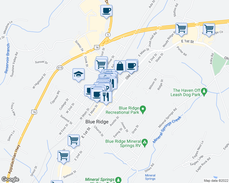 map of restaurants, bars, coffee shops, grocery stores, and more near 3453 East 1st Street in Blue Ridge