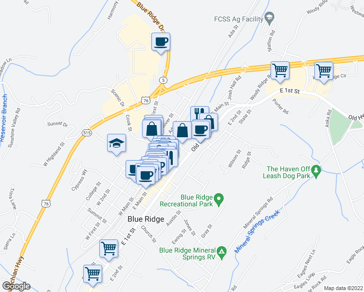 map of restaurants, bars, coffee shops, grocery stores, and more near 226 Davis Road in Blue Ridge