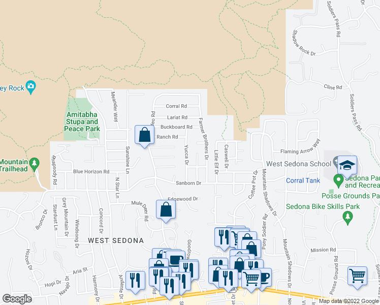 map of restaurants, bars, coffee shops, grocery stores, and more near 150 Yucca Drive in Sedona
