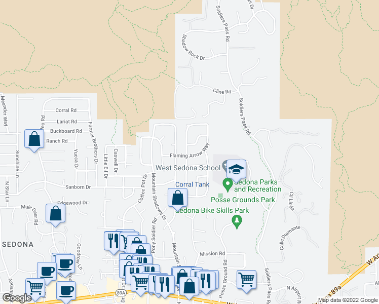 map of restaurants, bars, coffee shops, grocery stores, and more near 210 Flaming Arrow Way in Sedona