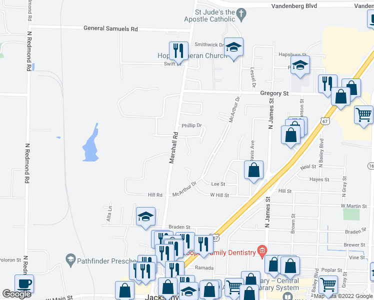 map of restaurants, bars, coffee shops, grocery stores, and more near 1308 Hendrix Drive in Jacksonville