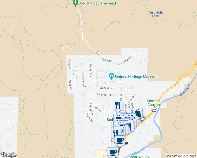 map of restaurants, bars, coffee shops, grocery stores, and more near 55 Tonto Road in Sedona