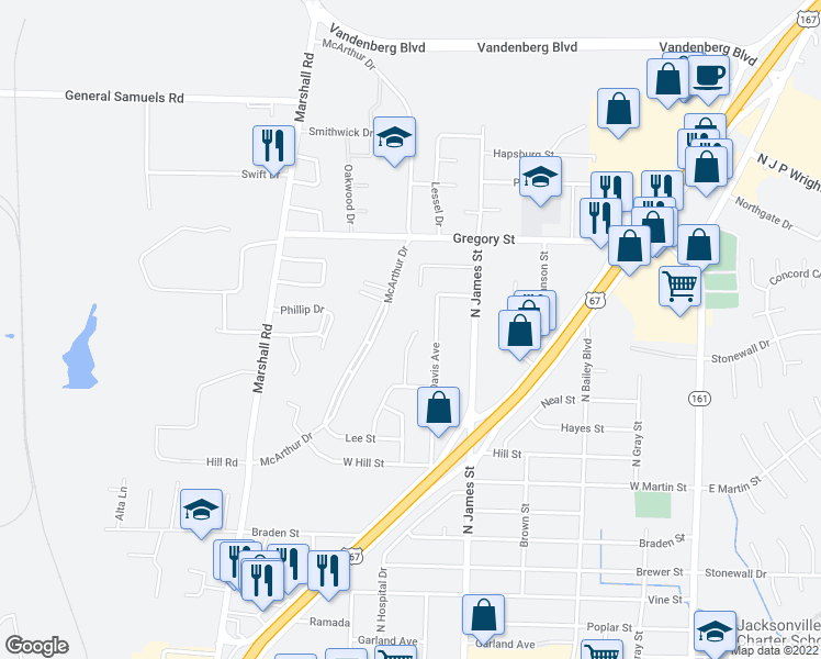 map of restaurants, bars, coffee shops, grocery stores, and more near 1308 Oakhurst Drive in Jacksonville
