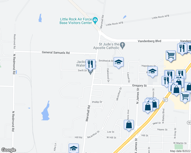 map of restaurants, bars, coffee shops, grocery stores, and more near 20 Kaye Lane in Jacksonville