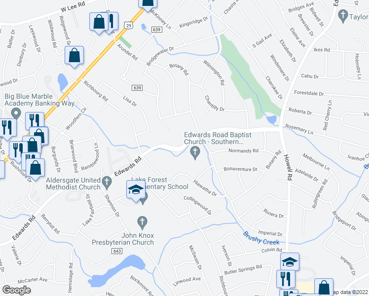 map of restaurants, bars, coffee shops, grocery stores, and more near 1021 Edwards Road in Greenville