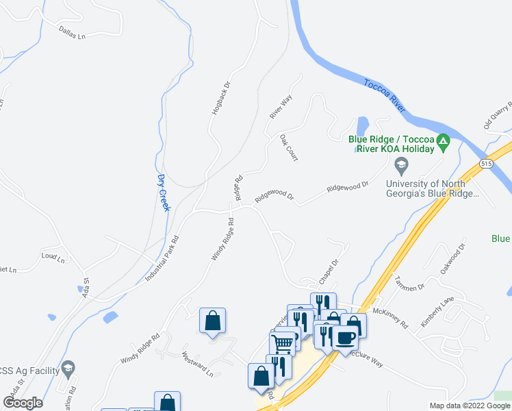 map of restaurants, bars, coffee shops, grocery stores, and more near 4 Ridgewood Drive in Blue Ridge