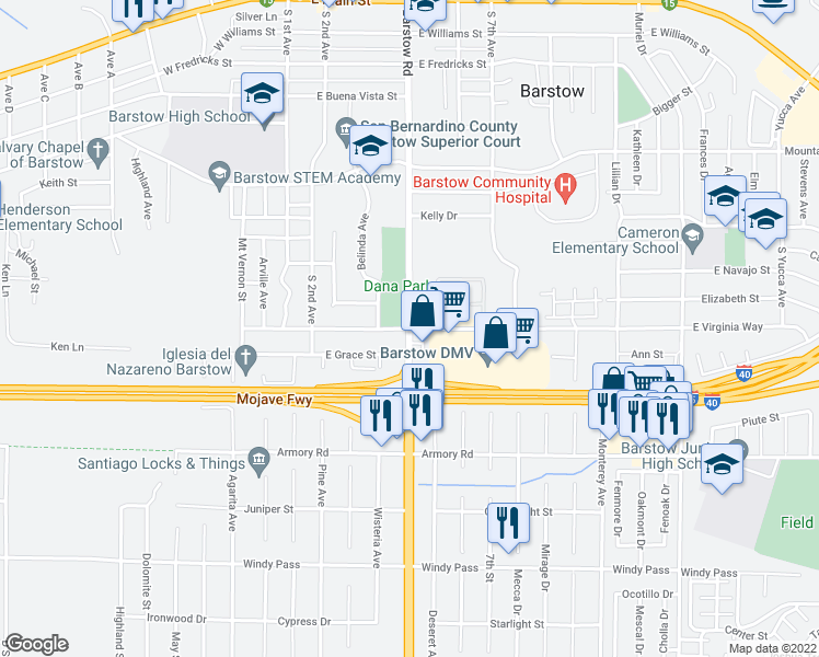 map of restaurants, bars, coffee shops, grocery stores, and more near Barstow Rd & E Virginia Way in Barstow