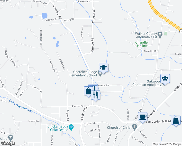 map of restaurants, bars, coffee shops, grocery stores, and more near 2395 Olen Thornton Lane in Chickamauga