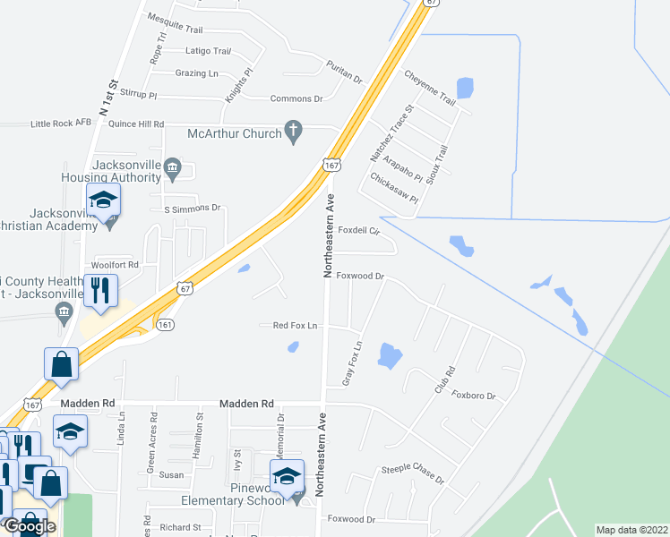 map of restaurants, bars, coffee shops, grocery stores, and more near 101 Foxwood Drive in Jacksonville