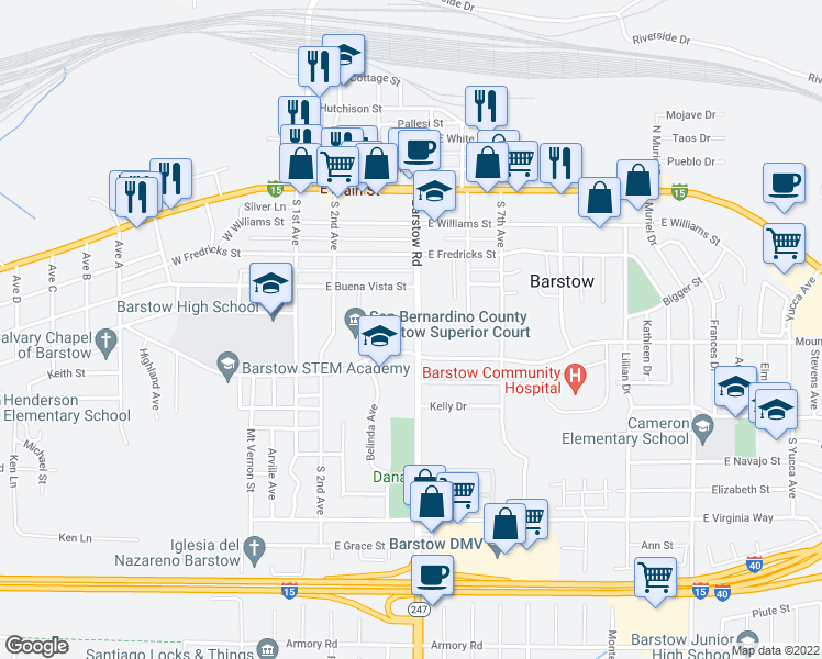 map of restaurants, bars, coffee shops, grocery stores, and more near 508 Barstow Road in Barstow