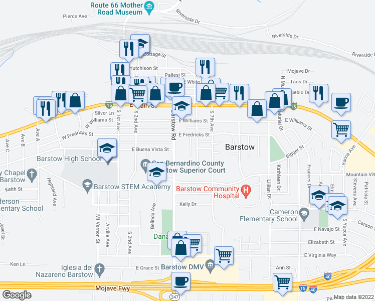map of restaurants, bars, coffee shops, grocery stores, and more near 408 Wilshire Place in Barstow