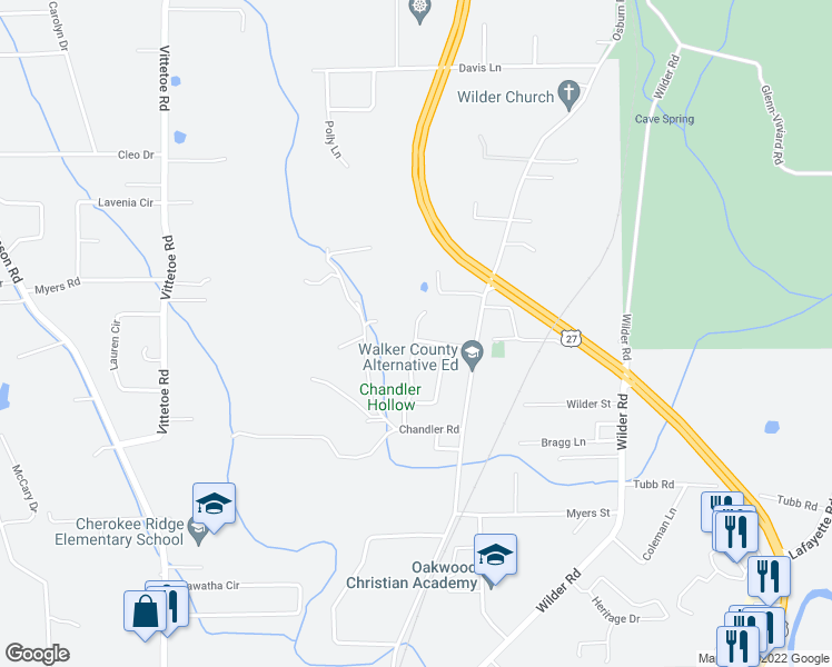 map of restaurants, bars, coffee shops, grocery stores, and more near 204-244 Stokely Drive in Chickamauga