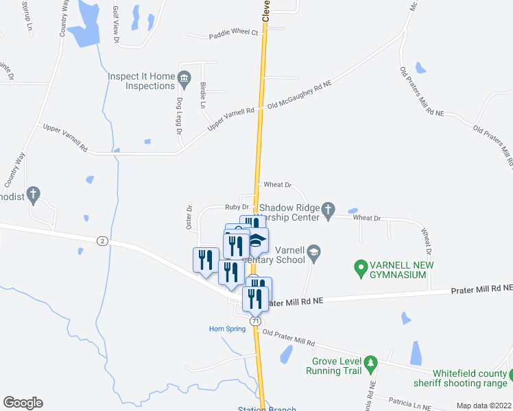 map of restaurants, bars, coffee shops, grocery stores, and more near 3986 Cleveland Highway in Dalton