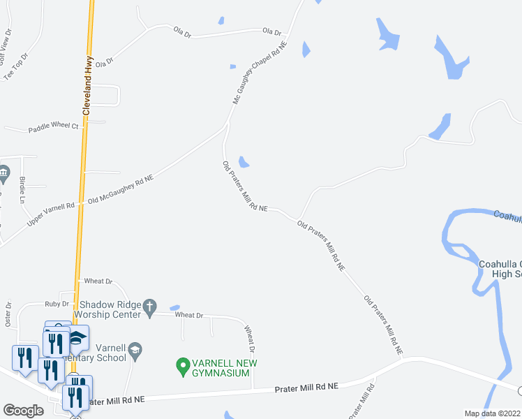 map of restaurants, bars, coffee shops, grocery stores, and more near 552-586 Old Praters Mill Road Northeast in Dalton