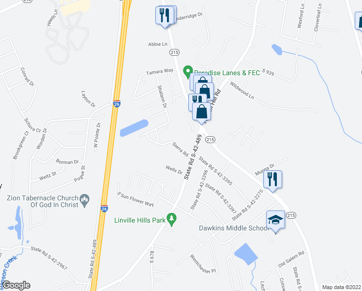 map of restaurants, bars, coffee shops, grocery stores, and more near 416 Sierra Road in Spartanburg