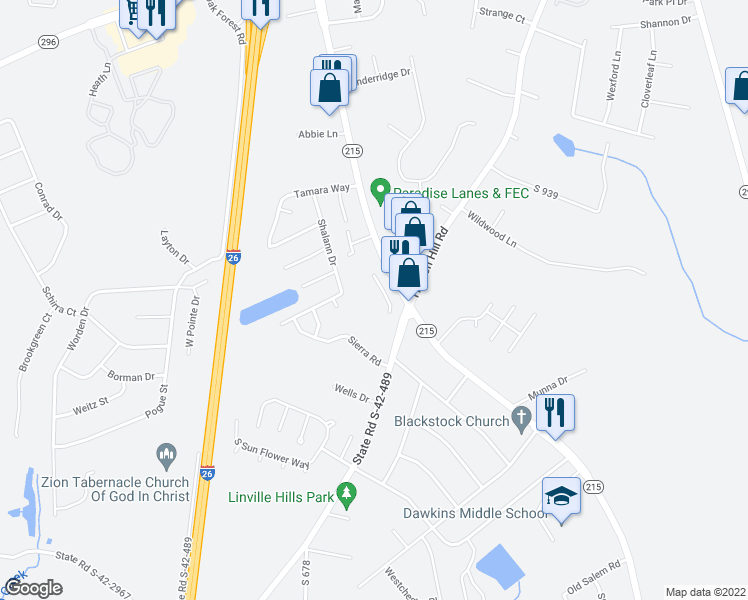 map of restaurants, bars, coffee shops, grocery stores, and more near 460 East Blackstock Road in Spartanburg