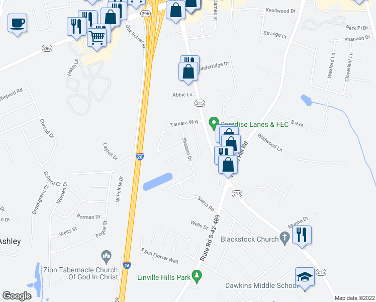 map of restaurants, bars, coffee shops, grocery stores, and more near 2646 Shalann Drive in Spartanburg