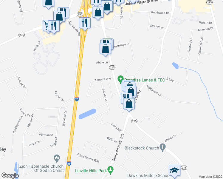 map of restaurants, bars, coffee shops, grocery stores, and more near 430 East Blackstock Road in Spartanburg