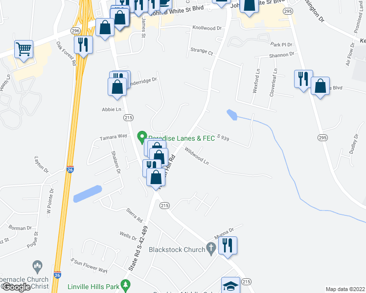 map of restaurants, bars, coffee shops, grocery stores, and more near 922 Wildwood Lane in Spartanburg