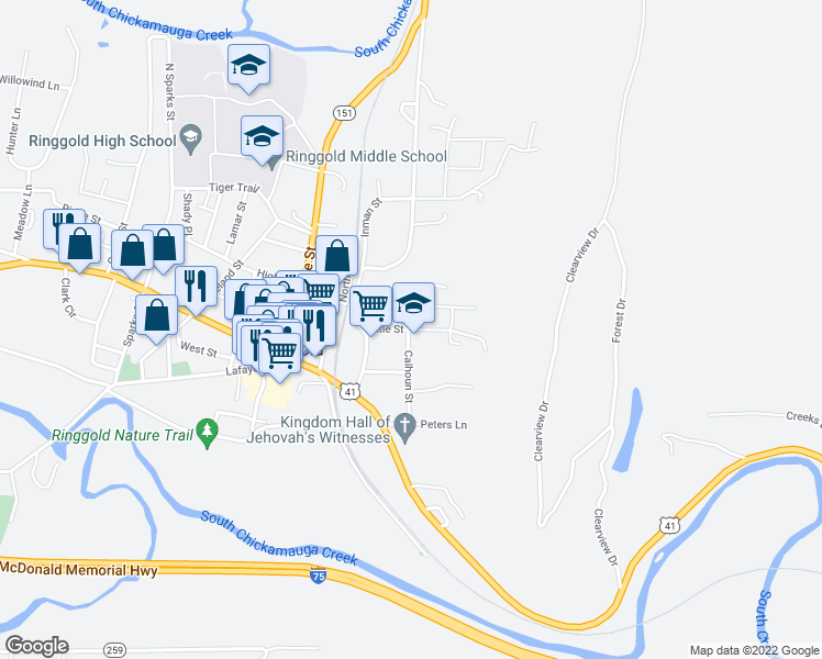 map of restaurants, bars, coffee shops, grocery stores, and more near 82-108 Marilyn Circle in Ringgold