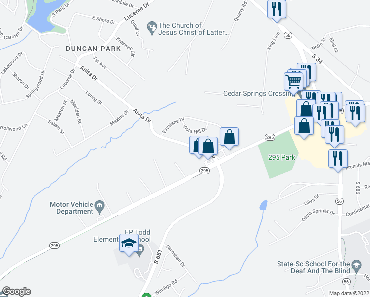 map of restaurants, bars, coffee shops, grocery stores, and more near 228 Anita Drive in Spartanburg