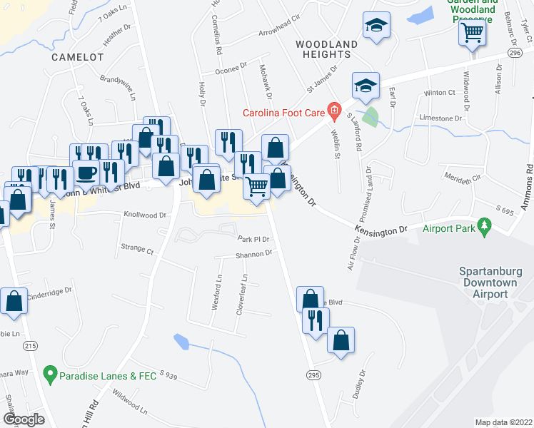 map of restaurants, bars, coffee shops, grocery stores, and more near 110-118 Southport Road in Spartanburg