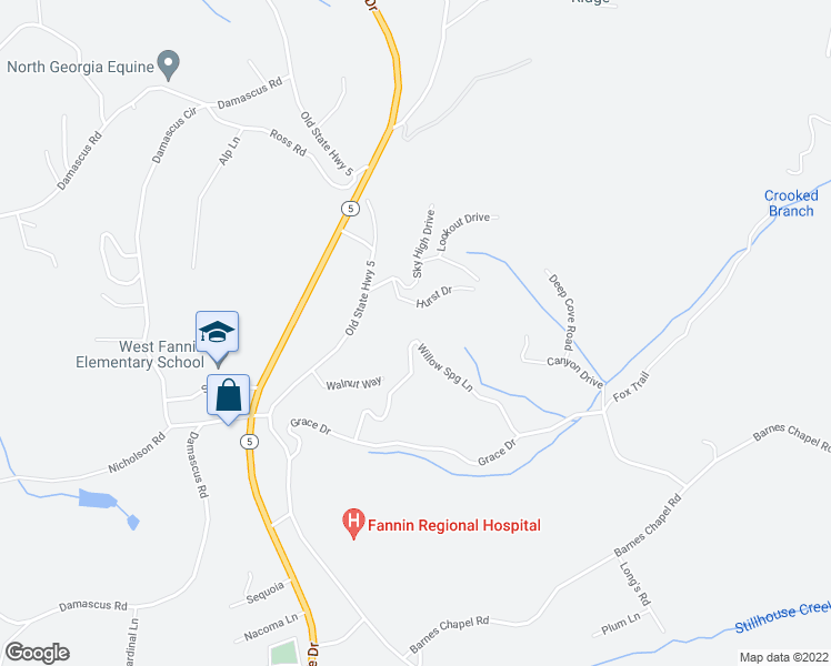 map of restaurants, bars, coffee shops, grocery stores, and more near 264 Sky High Drive in Blue Ridge