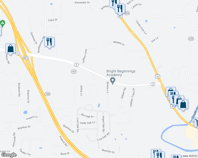 map of restaurants, bars, coffee shops, grocery stores, and more near 231 Joyce Drive in Ringgold