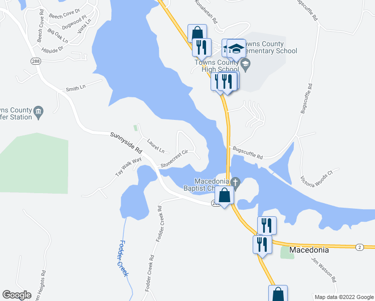 map of restaurants, bars, coffee shops, grocery stores, and more near Stonecrest Circle in Hiawassee