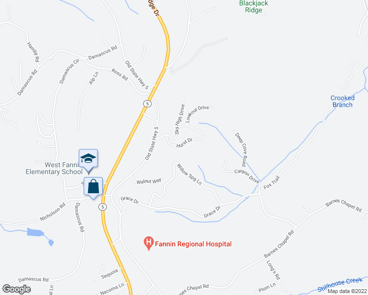 map of restaurants, bars, coffee shops, grocery stores, and more near 354 Sky High Drive in Blue Ridge