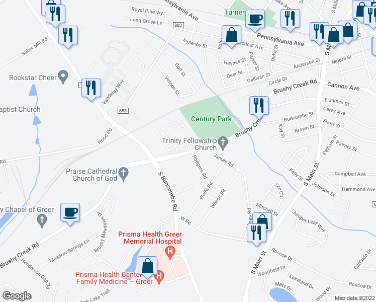 map of restaurants, bars, coffee shops, grocery stores, and more near 3000 Daventry Circle in Greer